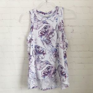 [Calia] NWT everyday high neck tank purple floral